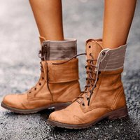 Lace Up Booties Sexy Ladies Piazza autunno delle donne della molla del tallone Roma Medio tubo Lace Up Boots cavaliere scarpe marroni Plus Size 43 06YL #