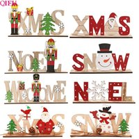 QIFU Noel Wooden Ornaments Merry Christmas for Home 2020 Nav...