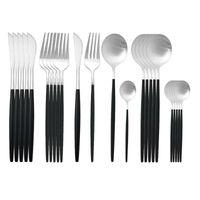 Sofra Takımı Setleri Beyaz Altın Çatal Seti Paslanmaz Çelik Yemek 24 adet Bıçaklar Forks Kahve Kaşık Mutfak Yemeği Sofra