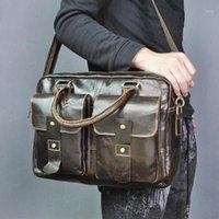 """حقائب الرجال جودة الجلود تصميم السفر حقيبة الأعمال 14 """"حقيبة كمبيوتر محمول المهنية محفظة التنفيذي المنظم حمل حقيبة 998"""