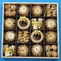 크리스마스 장식 크리스마스 트리 장식품 56pcs 세트 밀 짚 짠 축제 장식 공예 눈송이 인형 나무 장난감 LJ201007