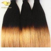 Hint Brezilyalı Malezya Perulu Bakire Saç Düz Ombre İnsan Saç Dokuma İki Ton 1B 27 Renkli Saç Uzantıları