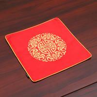 Stickerei freudig chinesische Seide Esstisch Matte Party Dekoration Vintage Satin Tischset Platte Schüssel Rechteckige Schutzkissen C0116