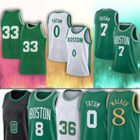 0 Jayson Jersey 8 Kemba Tatum Walker 7 Jaylen 36 Marcus Brown Smart 2021 New White City Basketball Jerseys