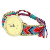 Saatı Varış kadın Cenevre Etnik Pamuk Karışımı El Yapımı Örgülü Analog Kuvars Zincir Bilezik Bilek İzle Ladie Elbise Watch1