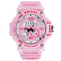 Подарок на день рождения Новый SMAEL 44 мм 1808 Кварц Дитигал Мужские Унисекс Женские Часы Многофункциональный Девушка Розовый Ремешок Студенты Студенты A06A6