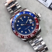 U1 Fábrica ST9 Acero inoxidable Azul Red Bezel Blue Dial Movimiento automático Mecánico GMT Ajustable Hombres Oyster Cinturón Relojes Relojes de pulsera