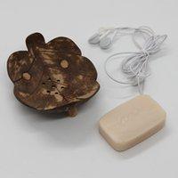 Pratos de sabão criativas da Tailândia Retro Banho de madeira sabão de coco Pratos Forma Sabão Titular DIY Artesanato HHB2421