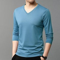 Spring and Autumn Modal Long Sleeve Men' s V- neck Mulber...