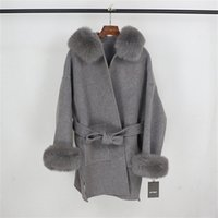 OFTBUY Real Fur Coat Winter Jacket Women Natural Fox Fur Collar Cuffs Hood Cashmere Wool Woolen Oversize Ladies Outerwear 201224