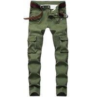 Erkek Kot Sıska Tasarımcı Amry Yeşil Slim Fit Moto Biker Jeans Erkekler Denim Pantolon Hip Hop Steetwear 1611 #