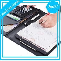 A4 Manager Multifunction Leather Office Folder Includes 12-bit calculator Clipboard Business organizer