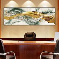 Soyut Goldern Balık Tuval Boyama Posterler Ve Baskılar Duvar Sanatı Ev Dekorasyonu Oturma Odası Dekorasyon Resimleri için