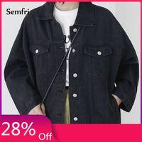 Casual Harajuku Streetwear Koreli Giyim 201021 MUJER chaqueta Semfri Siyah Denim Ceket Kadınlar Sonbahar Kış Jeans Ceket Kaban