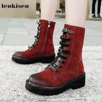 Boots Lenkisen Натуральная кожа Винтаж кампус стиль ремень пряжки ремни круглые носки высокие каблуки рок зимние женщины теплые середины теленка L33