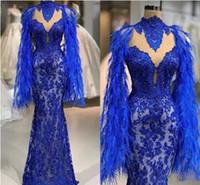 Abendkleider azul real brillante de la sirena vestidos de baile del partido perlas apliques de encaje pluma piso del vestido de noche de la longitud Vestido cruzado