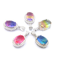Mix 5PCS do arco-íris New Luckyshine presente 925 prata Oval clássico Bi-Colored Gemstone Tourmaline Colares Para Lady Partido