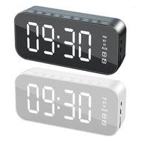 Altavoces de combinación Altavoz Bluetooth inalámbrico 5.0 Reloj de alarma dual Escritorio Espejo Espejo LED FM Radio USB MICE incorporado 20211