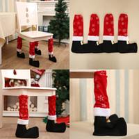 Новый шаблон Xmas Стул для ног носки Рождество бутылки вина Украшение стола Ножка крышка Санта Boots Табурет чулки Обложки Оптовая 4 2hba G2
