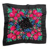 Gedruckt Ethnic-Schal-Verpackung 70cm x 70cm Staubdichtes Cashew Blumen Haar-Stirnband-Schal Retro Blumen muslimisches Kopftuch russische Hijab