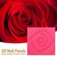 30x30cm 3D 아트 벽 패널 물결 모양의 장미 나무 조각 꽃 3D 벽 곡선 양각 진주 빛 다채로운 결혼식 장식 벽지