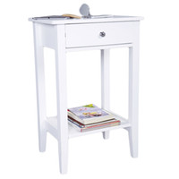 Two- layer Bedside Table Coffee Table with Drawer White