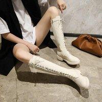 Chaussures d'hiver Femmes Chunky Heels Milieu Platform Plate-forme Beige Silver Pattent PU Cuir Cuir Riding Bottes à lacets Genou Haute Lady1