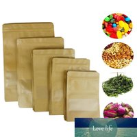 100pcs alimentaire humidité Sacs barrière avec fenêtre claire Brown papier kraft Doypack Pochette d'emballage d'étanchéité Pochette