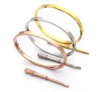 Fina 4mm prata rose 18k banhado a ouro 316L bracelete de pulseira de parafuso de aço inoxidável com chave de fenda clara palavra com caixa.