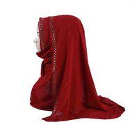 Écharpe en mousseline de mousseline de mousseline de mousseline Strinest dame Muslim Turban Hijabs avec Squin Dot strass Shimmer Long Islam Châle1