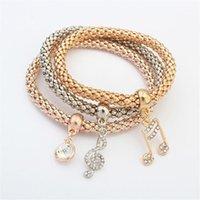 Bracelets de charme Shaqiyayi 3pcs Bracelet Ensembles de cristal Music Note Bangles Marque pour femme bijoux amitié cadeau 1226441