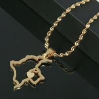 Acciaio inossidabile di colore dell'oro di Colombia Mappa Ciondolo Mappa collana di fascino del cuore di gioielli colombiana