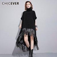 Женские толстовки для толстовки кофты Chicever черное платье для женщин водолазки с коротким рукавом лоскутное кисточка асимметричные подол негабаритные платья