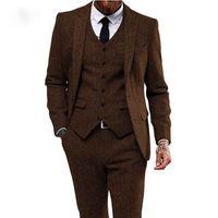 Trajes de hombre de Tweed Hombres de Herringbone marrón para la boda 3 piezas Fumar blazer hombre traje traje homme Último chaqueta con sartén de tuxedo