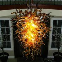 Lâmpadas de cristal LED pingente ouro ouro 48 polegadas alta mão soprada de vidro candelabro candelabro iluminação economia de energia Illuminazione del Lampadario
