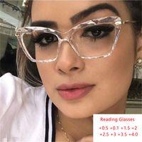 الساخنة نظارات القراءة واضح عين القط وصفة طبية نظارات الإطار السيدات مصمم النساء وهمية فاخر مد البصر نظارات مع درجة