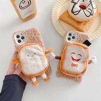 Reißverschluss Geldbörse 3D Toastbrot Telefonkasten für iphone 11 12 Pro Max mini XR XS MAX 7 8Plus Fall warmen Plüsch-Fuzzy-weiche nette Abdeckung