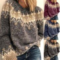 Женские свитеры Новая осень зима повседневная стиль свободных мохер грубый вязаный жаккардовый женский свитер с 4 цветами