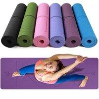 Estera de yoga antideslizante gruesa con línea de posición Fitness Comfort Gimnasio Ejercicio almohadillas para el ejercicio doméstico1