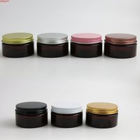 24 x 100 g Vacío Amber Cosmetic Cream Contenedores Tarjetas 100cc 100ml para embalaje de cosméticos Botellas de plástico con tíxas metálicas. Cualdad.