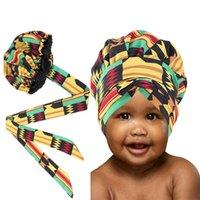 Yeni Çocuk kız Turban Şapka Çok Büyük Saten bereleri Çizgili Şapkalar Şapka Afrika Ankara Uzun Kurdele Headwrap Ankara Saç Bonnet Şapka