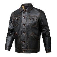 Faux couro dos homens Outono-Inverno Botão Leather Jackets Coats Moda Casacos PU baixo Grosso Casual Plus Size Brasão