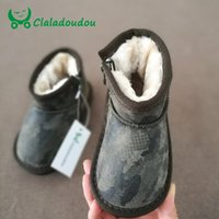 Claladoudou Fashion Baby Boots Girls Boys Invierno Invierno Niños Botas de nieve Niños Zapatos de cálido Piel Chicas Roma Botas Negras Toddler LJ201201