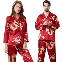 Kadınlar Ipek Saten Pijama Set 2 Adet Tam Kollu Üst Pantolon Çin Tarzı Yeni Yıl Dragon Baskı Salonu Erkekler Çift'in Pijama PJS Y200708