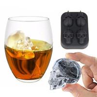 Silicona 3D Skull Ice Cube Trans Bandeja Molde DIY Fabricante de hielo Uso del hogar Fresco Whisky Whiskey Herramientas Herramientas de Chocolate Pudín Helado Moldes de Helado YL0167