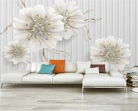 Wallpaper Flower costume 3d bela luz de jóias de luxo flor 3D Sala Quarto Wallcovering Wallpaper HD