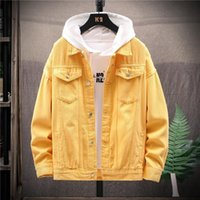 2021 İlkbahar Sonbahar Erkek Pamuk Denim Trendy Moda Yırtık Ceket Erkek Kovboy Kot Ceketler Boyutu 2x L Erkek Ceket