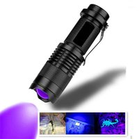 El fenerleri meşaleler led uv mini torch 365nm 395nm mor ışık akrep pet idrar dedektörü zumlanabilir pil aydınlatma1