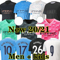 كون Aguero 20 21 City Soccer Jerseys GK 2020 2021 Man Sterling Football Shirt دي Bruyne Gesus Bernardo Mahrez Rodrigo Men + Kids