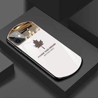 Lüks ve Güzel Oval Akçaağaç Yaprak Temperli Cam Durumda iPhone 12 11 Pro Max Xsmax XR Artı Ayna Silikon Telefon Kabuk